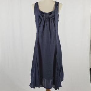 Lina Tomei Navy Blue Linen Dress